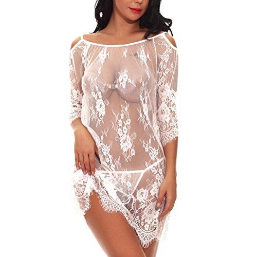 DongDong Fashion Women Babydoll Mini Sleepskirt Lace Sexy Lingerie G-String Underwear (A-boo Doll Baby Peek Lace)