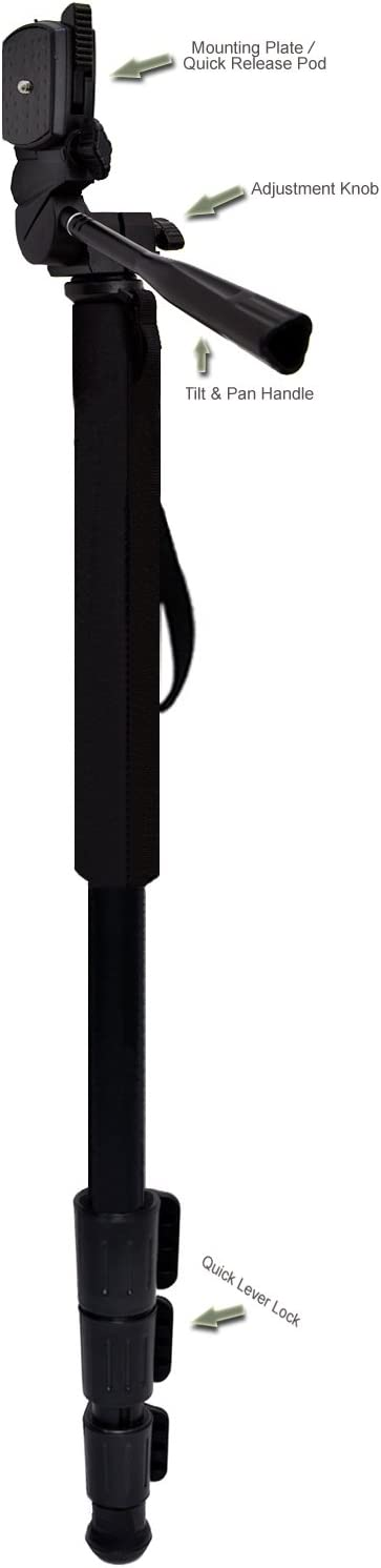 Professional Black 72 Monopod//Unipod For Samsung 16mm f//2.4 Quick Release