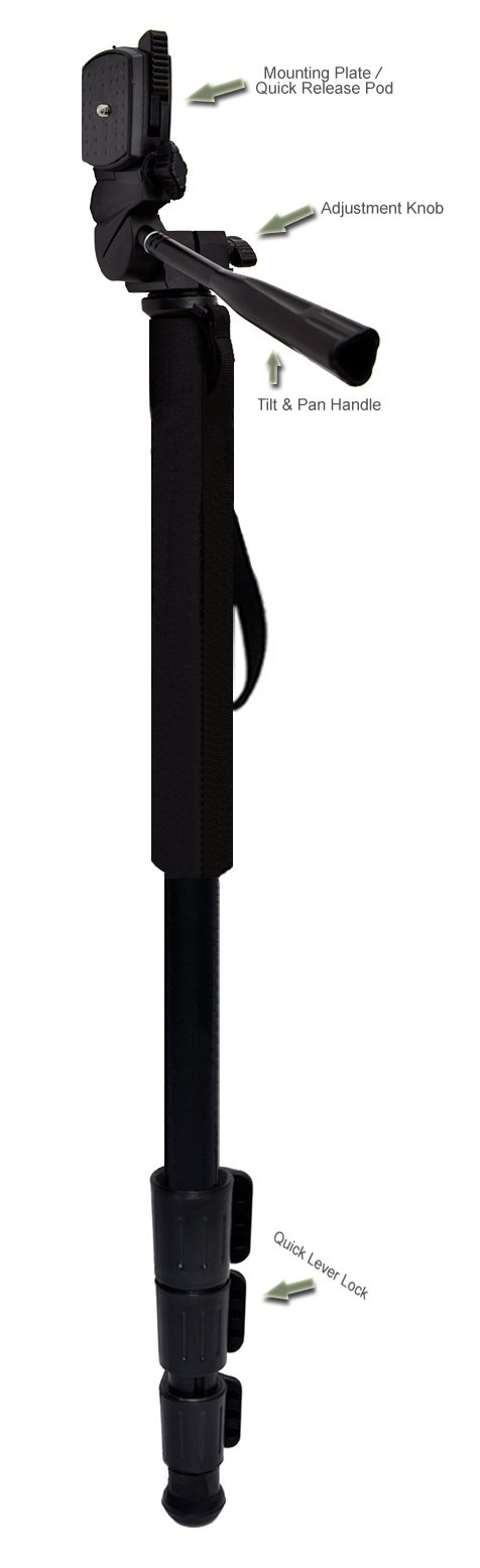 Professional Black 72'' Monopod / Unipod (Quick Release) For Canon EF 500mm f/4L IS (Image Stabilizer) USM Lens by Bower Elite