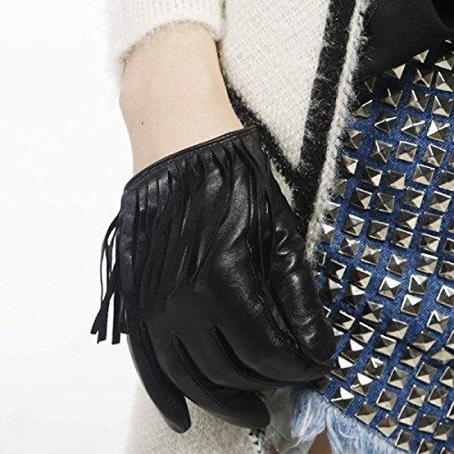 Chic Esterno Ragazza Impermeabile Donna Short Pelle Guanti Nappa In Addensare Nero Da Per Fashion 80xTaO