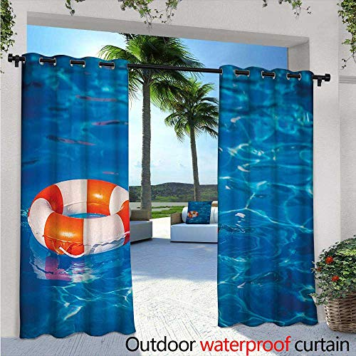 Crystal Astoria Clear (Buoy Balcony Curtains Life Buoy in Crystal Clear Swimming Pool Summer Relaxing Vacation Sports Theme Outdoor Patio Curtains Waterproof with Grommets W108 x L96 Blue Orange White)