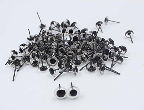 CHENGYIDA 200pcs (4 Size 3/4/5/6mm Mixed) Mini Clear Glass Eyes on Wire Amber Toy Teddy Eyes Puppets Dolls Crafts ,50pcs (25pairs) per Size
