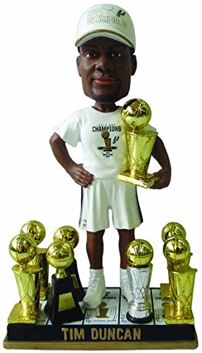 Tim Duncan (San Antonio Spurs) 5X NBA Champ Base (2014 T-Shirt/Hat) 3X Finals MVP Trophy Bobble Head Exclusive #/300 by 2014 NBA Exclusive Bobbleheads