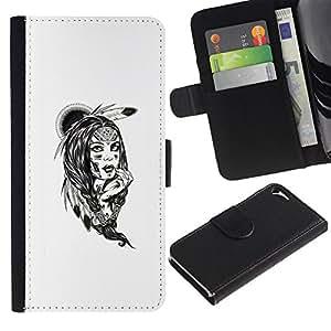 MobileTech / Apple Iphone 5 / 5S / Tribal Native American Indian Girl / Cuero PU Delgado caso Billetera cubierta Shell Armor Funda Case Cover Wallet Credit Card