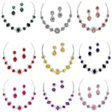 Fancy Elegant Jewelry Collection Bridal Wedding Necklace Earring Crystal Sets(10 Colors)