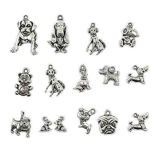 MonkeyJack 15pcs Mixed Tibetan Silver Plated Animal Dogs Charms Pendants Jewelry Making