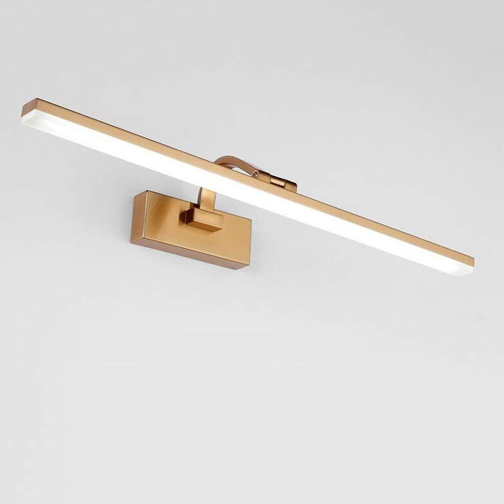 Home LED-Retro Spiegel vordere Scheinwerfer Badezimmer Spiegelschrank Licht Kommode Make-up-Spiegel vorne Licht leuchten Gold (Farbe  weißes Licht-51 cm 12W)