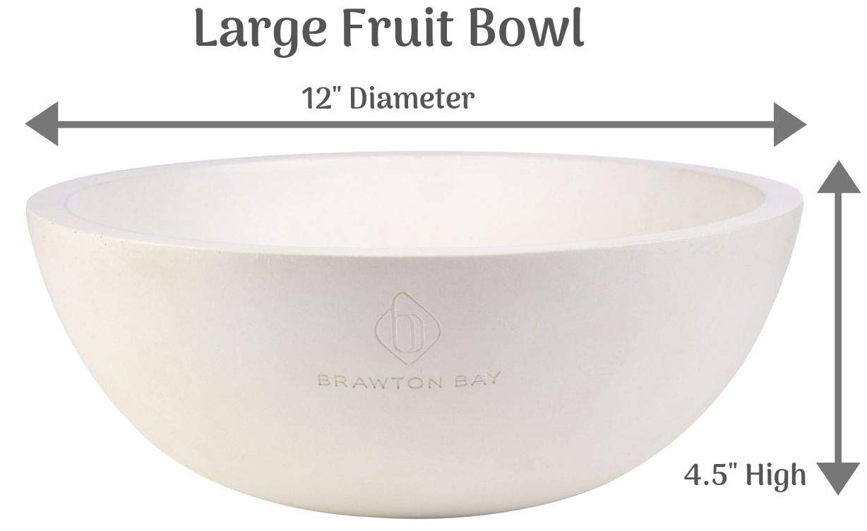 Decorative Fruit Bowl for Kitchen or Dining Room, Concrete, White - Extra Large Food Bowls for Snacks, Candy - Handmade Kitchen Accessories for Tables and Countertops, 12'' Diameter by Brawton Bay (Image #3)