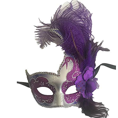 Purple Costume Feather Mask - Storm Buy] Women Lady Girls Costume Venetian mask Feather Masquerade Mask Halloween Mardi Gras Cosplay Party Masque (Purple)
