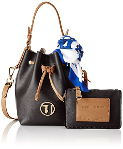 TRUSSARDI JEANS by Trussardi 75bp0553 - bolso cubo Mujer Nero (Black/White)