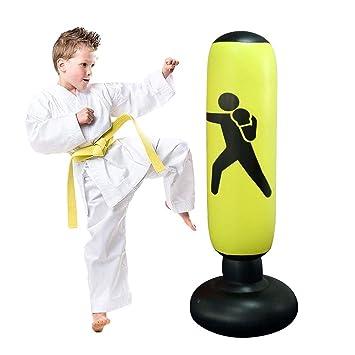 JanTeel Saco de Boxeo, Boxeo Inflable autoportante Aptitud Objetivo Bolso del Soporte de la Torre, MMA perforación Kick Formación Tumbler Bop Bolsa ...