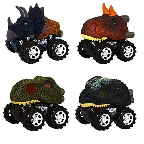 Toy Cars Toys for 2-6 Year Old Boys, TOP Gift Dinosaur Toys Vehicles with Big Tire for Kids Fun Toys for 2-6 Year Old Girls 2018 Christmas New Giftsor Kids Girls Boys 4 Pack TGUSKLC04 ()