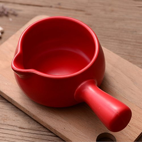 Ceramic Kitchen Milk Butter Mini Saucepan Warmer Cookware with Handle (Red)