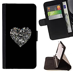 For Apple Iphone 5 / 5S Heart Glitter Mirror Black Heart Bling Style PU Leather Case Wallet Flip Stand Flap Closure Cover