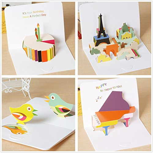 - Holastar Pop Up Cards, 3D Card, Birthday Cake, Piano Music, Paris Romantic, Summer Birds, Birthday Card, Greeting Card for All Occasions (Pack of 4)