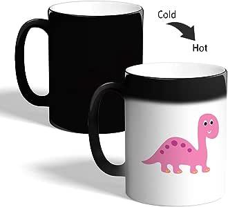Printed Magic Coffee Mug, Black, Cartoon Drawings - Dinosaur