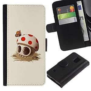 Be-Star la tarjeta de Crédito Slots PU Funda de cuero Monedero caso cubierta de piel Para Samsung Galaxy S5 V SM-G900 ( Mushroom Skull Cute Butterfly Death )