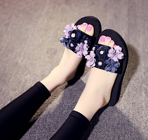 Chanclas Holiday exterior SCLOTHS desgaste Mujeres Flores Seaside Para 3cm Blue Beach 1wpwxYd