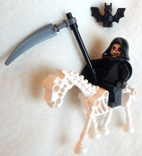 NEW GRIM REAPER LEGO MINIFIG + HORSE angel of death figure minifigure halloween