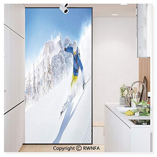 - Decorative Window Film,Skier Skiing Downhill in High Mountains Extreme Winter Sports Hobbies Activity Static Cling Glass Film,No Glue/Anti UV Window Paper for Bathroom,Office,Meeting Room,Bedroom,