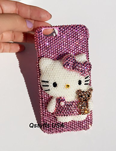 3D hello kitty with Little Bear iPhone 6 Plus 6S Plus crystals diamond case pearls cover USA - Iphone Case Chanel From 6