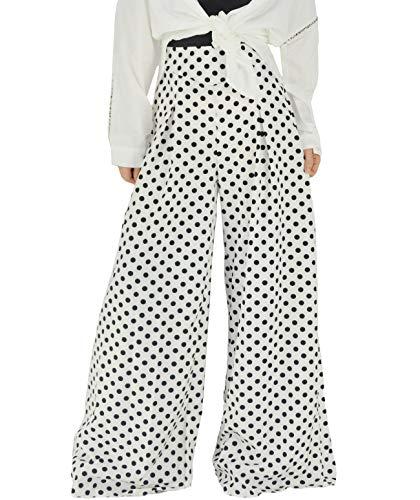 YSJERA Women's Chiffon Wide Leg Palazzo Pants Maxi Full Length Solid Gaucho Pants Culottes Trousers (M, White Polka Dot)