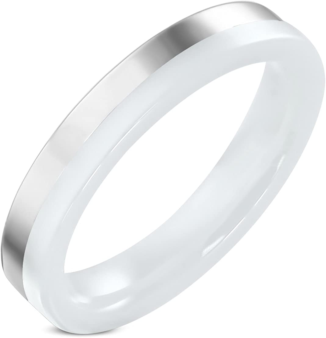 Stainless Steel White Ceramic Comfort Fit Flat Band Ring