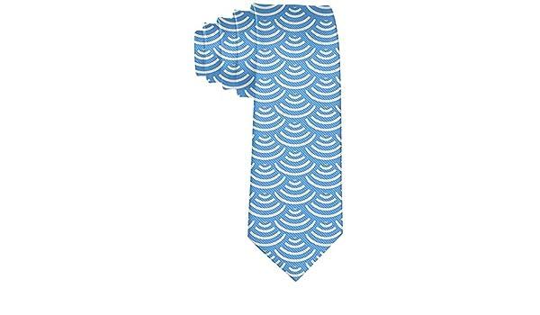 Corbata pitillo para hombre gran ola sirena escamas azul cielo ...