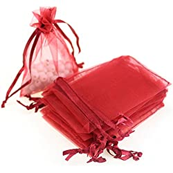 "AKStore 100PCS 4x6"" (10x15cm) Drawstring Organza Jewelry Favor Pouches Wedding Party Festival Gift Bags Candy Bags (Red)"