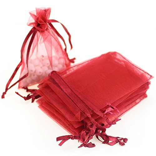 100pcs 3.6x4.8''(9x12cm) Organza Gift Bags, Drawstring Pouches Jewelry Party Wedding Favor Gift Bags,Candy Bags. (Red)