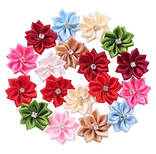 YAKA 50Pcs Satin Ribbon Flowers Bows Rose W/Rhinestone Appliques Birthday Party Wedding Decorations DIY Project Craft 1.1inch(Multi-color)