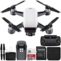 DJI Spark Quadcopter (Alpine White) + DJI Spark Remote + Bag Starter Bundle