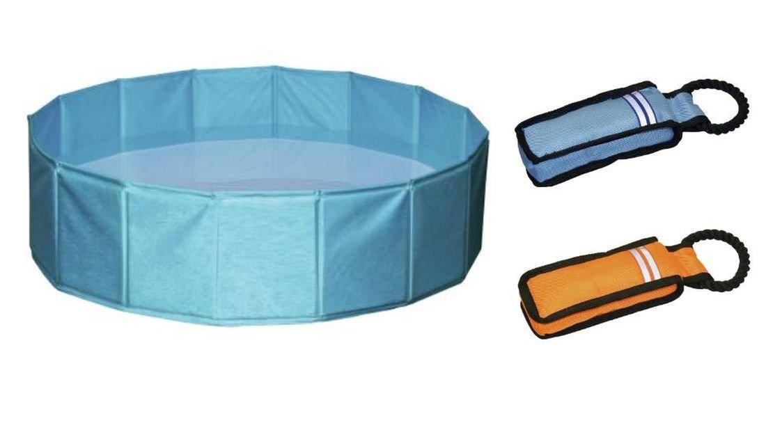 Cajou Hundepool 160 cm / 30 cm (ca 450 Liter) mit 2 Stück Schwimmspielzeug zum ersten Üben Planschbecken für Hunde Hundebecken Hunde - Swimmingpool