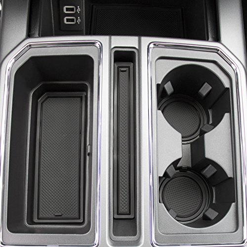 2017 2018 Ford F-150 Custom Fit Cup Holder and Door Liner Accessories F150 28-pc Set (Super Crew) (Solid Black)