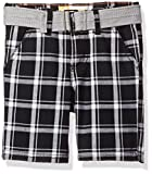 LEE Toddler Boys' Belted Plaid Woven Short, Black, 4T