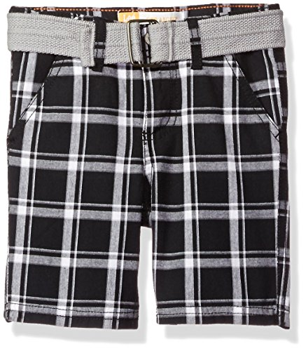 LEE Toddler Boys' Belted Plaid Woven Short, Black, 4T by LEE