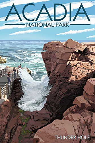 (Acadia National Park, Maine - Thunder Hole Day (9x12 Art Print, Wall Decor Travel Poster))