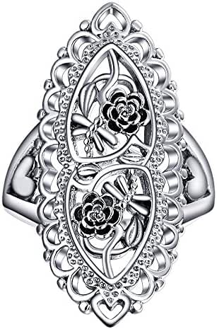 Angemiel Jewelry 925 Sterling Silver Openwork Flowers and Dragonfly Victorian Style Filigree Ring