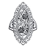 Angemiel Ubei Jewelry 925 Sterling Silver Openwork Flowers and dragonfly Filigree Ring Size 10