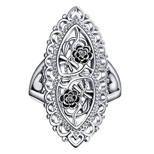 Angemiel Ubei Jewelry 925 Sterling Silver Openwork Flowers and dragonfly Filigree Ring Size 9 - Box Sterling Silver Ladies Ring