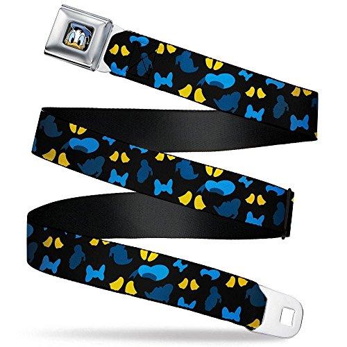 Buckle-Down Men's Seatbelt Belt Donald Duck Regular, Donald Duck Elements Scattered Black/Blues/Yellow, 1.5