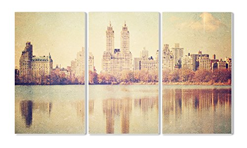Stupell Home Décor 3 Piece Central Park Overlook Photographic Triptych Wall Plaque Set, 11 x 0.5 x 17, Proudly Made in USA