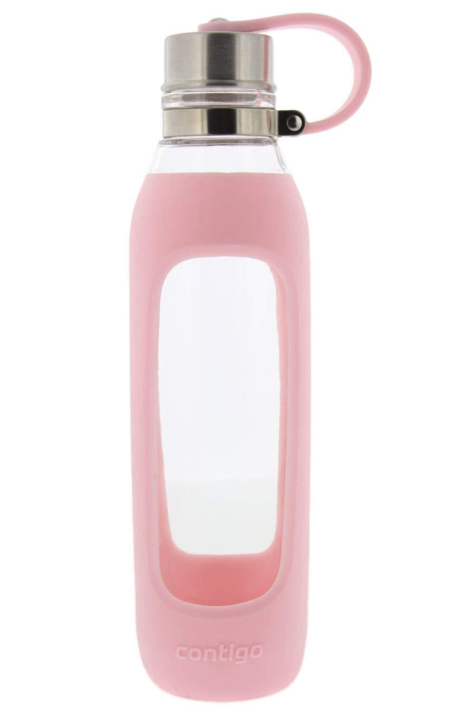 Contigo 純度ガラスウォーターボトル 保護用シリコンスリーブ& テザリング蓋付き 20オンス - チャーミングピンク - 無味無臭飲料 B07JLVJC64