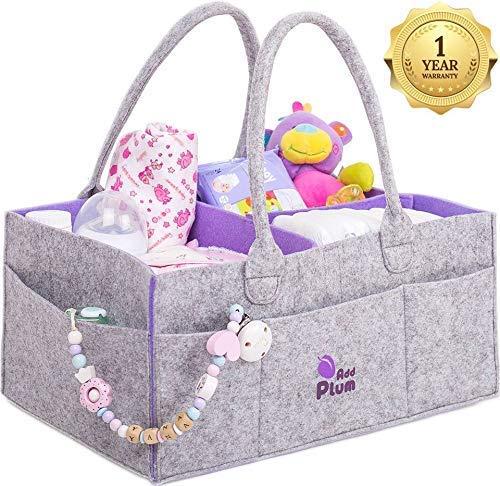 Baby Diaper Caddy Organizer - Baby Shower Gift Basket for Boy Girl - Portable Large Diaper Caddy Tote - Changing Table Organizer - Nursery Gray Felt Storage Bin - Newborn Registry Must Have (1) ()