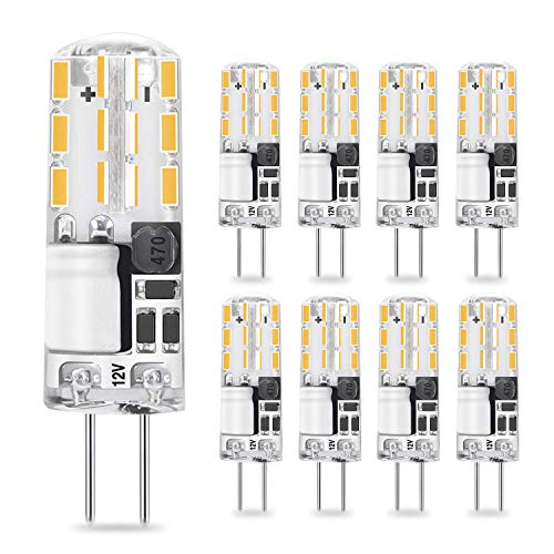 G4 LED Bulb 2W 10W 20W Halogen Bulbs Replacement AC/DC 12V G4 Bi-Pin Base Light Warm White 2700K Lamp for Landscape, Under Cabinet Lighting, No Flicker, Pack of 8 Yuiip ()