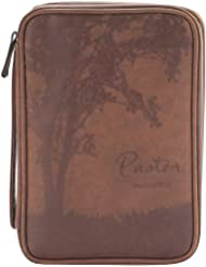 Pastor Matthew 25:21 Brown 7 x 10 Leather Like Vinyl Bible Cover Case with Handle Medium