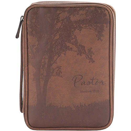Thinline Bible Cover - Pastor Matthew 25:21 Brown 7.5 x 10 Leather Like Vinyl Thinline Bible Cover Case