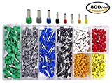Wire Ferrules Kit, 800 PCS Ferrule Copper Crimp Assorted Connectors Insulated Cord Pin End Terminal AWG 22-10 Assortment