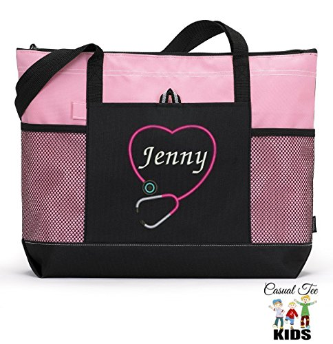 Personalized Nurse, CNA, RN, LPN Tote Bag with Mesh Pockets, Front Pocket, Zippered Closure