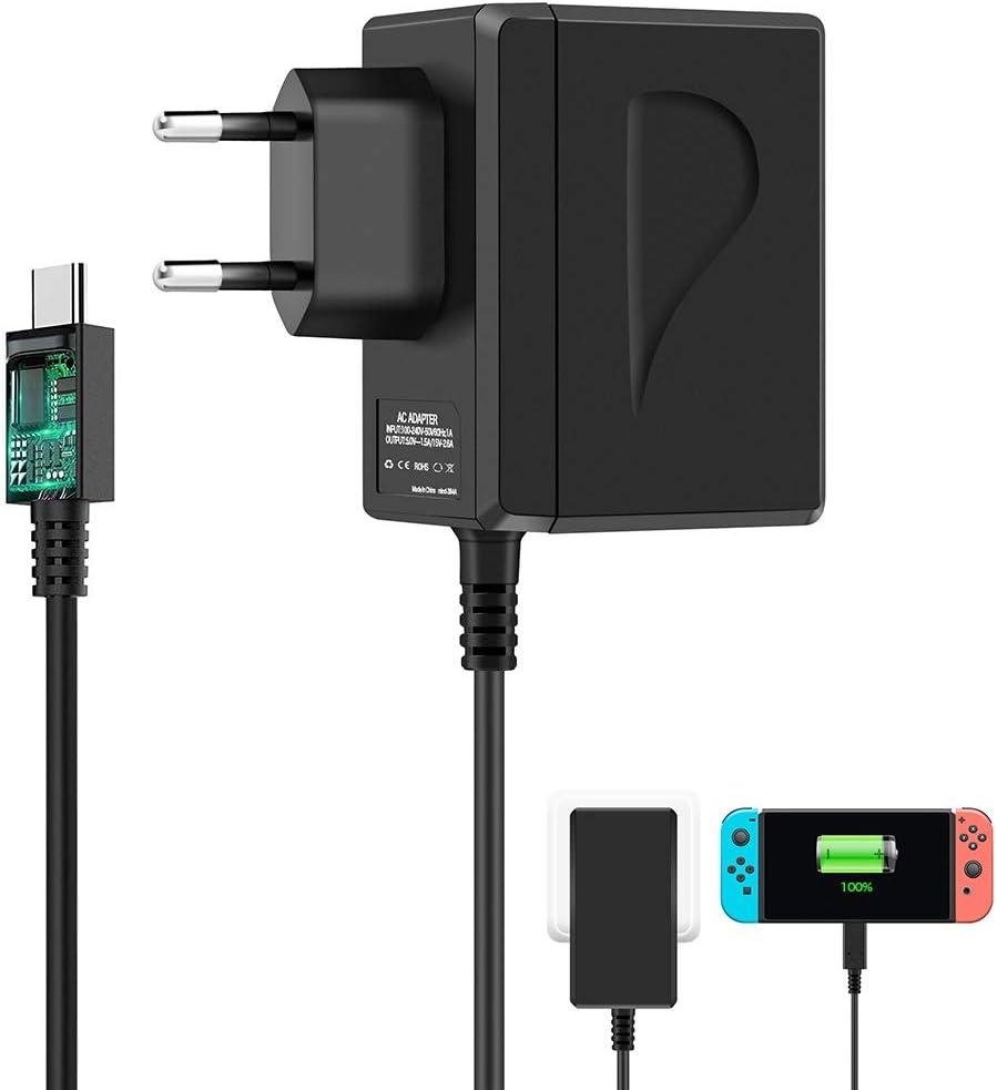 Shumeifang - Cargador Adaptador de CA, para Nintendo Switch y Nintendo Switch Lite (Soporte el Mode TV), 15V/2.6A Carga Rápida USB Tipo C Cargador Para Switch Dock y Controlador Pro